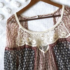 Free People Sheer Bohemian Style Top! Size Large!